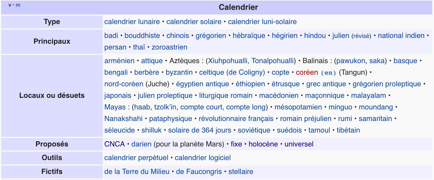 Capture d'écran de la liste de calendriers sur Wikipédia