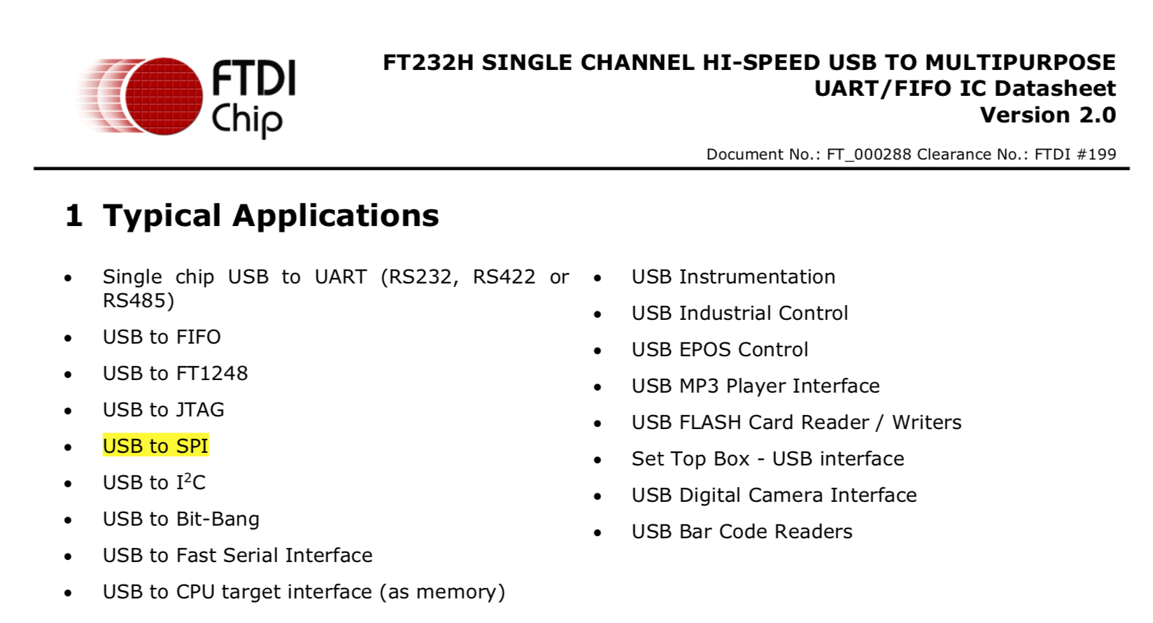 Capture of the FT232H datasheet mentioning SPI capabilities