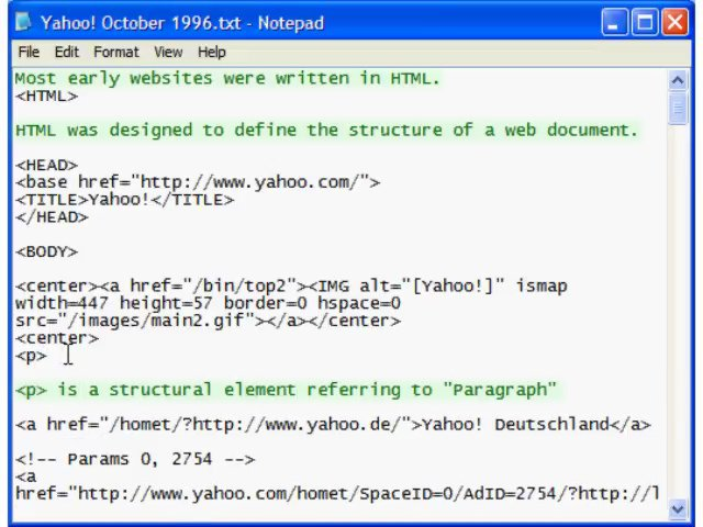 """little presentation of HTML syntax: <p> is a structural element referring to """"Paragraph"""""""