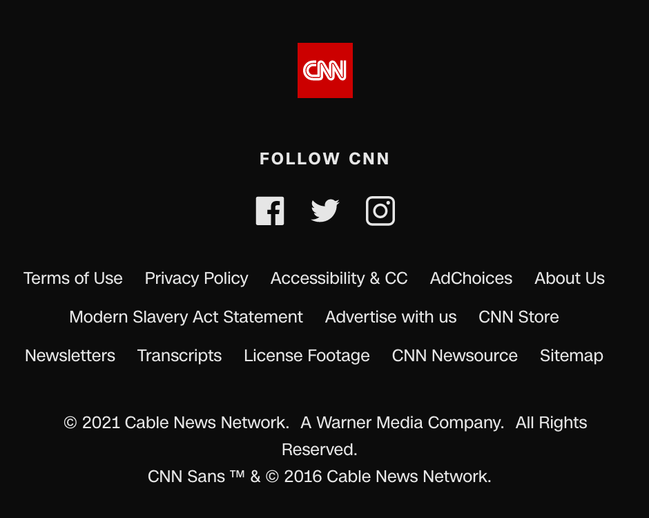 Footer of the CNN website in 2021